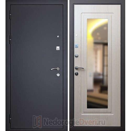 Входная металлическая дверь Art-Lock-1 Беленый дуб с зеркалом