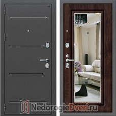 Входная дверь Groff P2 206 Тёмная Вишня с зеркалом