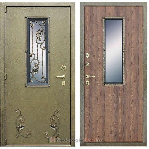 Входная уличная дверь Престиж с ковкой и окном
