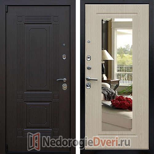 Входная дверь Престиж Викинг Беленый Дуб с Зеркалом
