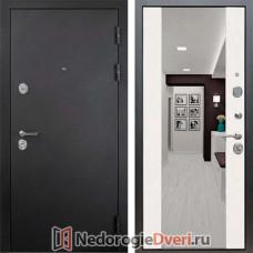 Металлические двери ReX 5А СБ-16 с зеркалом (Муар черный / Лиственница беж)
