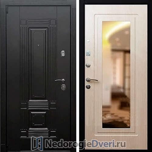 Входная дверь Rex 9 Зеркало Беленый дуб
