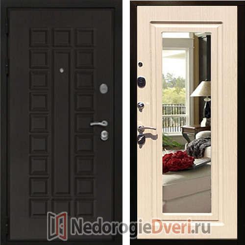 Входная дверь Rex Триумф 3К Белёный дуб с Зеркалом Трёхконтурная