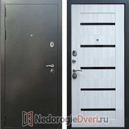 Входная дверь Rex 5A Серебро Сандал Белый
