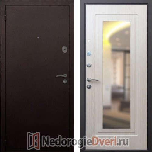 Входная дверь Rex 1А Белёный Дуб с Зеркалом
