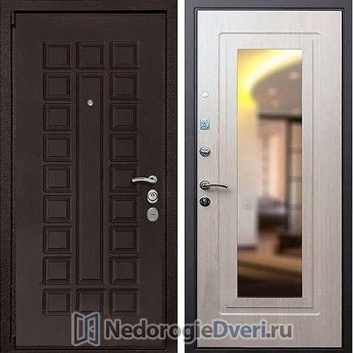 Входная дверь Rex 4А Беленый Дуб Зеркало