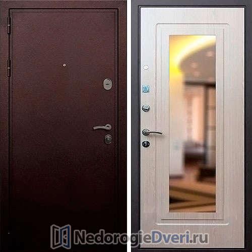 Входная дверь Rex 5A Медь с Зеркалом Белёный Дуб