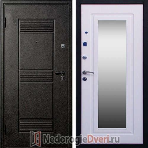 Входная металлическая дверь Стоп Зеркало Беленый Дуб