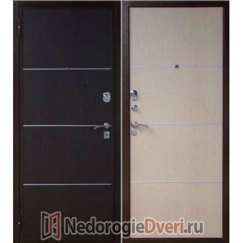 Входная металлическая дверь ЮГ-04 Венге/Белёный венге