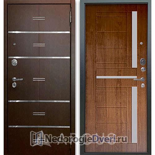 Входная дверь Аргус Люкс АС 2П Лайн Венге/Альфред Дуб золотой