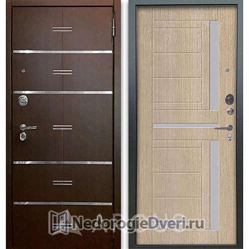 Входная дверь Аргус Люкс АС 2П Лайн Венге/Альфред Капучино