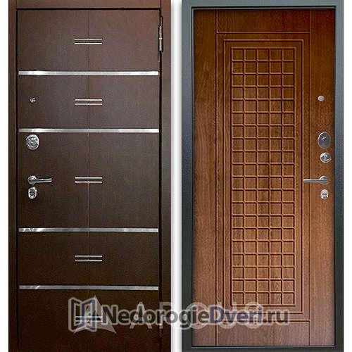 Входная дверь Аргус Люкс АС 2П Лайн Венге/Альма Дуб золотой