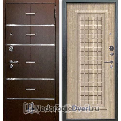 Входная дверь Аргус Люкс АС 2П Лайн Венге/Альма Капучино