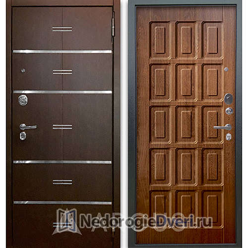 Входная дверь Аргус Люкс АС 2П Лайн Венге/Шоколад Дуб золотой