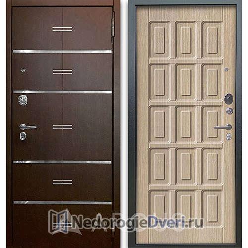 Входная дверь Аргус Люкс АС 2П Лайн Венге/Шоколад Капучино