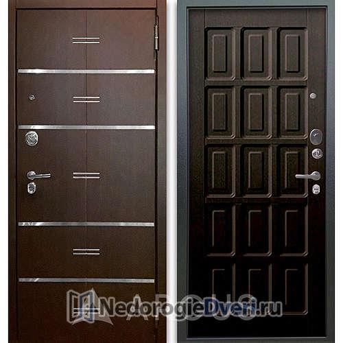 Входная дверь Аргус Люкс АС 2П Лайн Венге/Шоколад Венге тисненый
