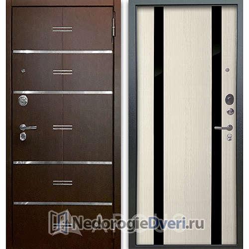 Входная дверь Аргус Люкс АС 2П Лайн Венге/Дуэт Белое дерево