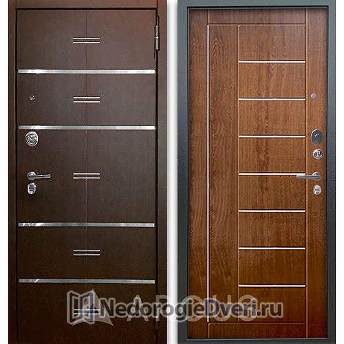 Входная дверь Аргус Люкс АС 2П Лайн Венге/Фриза Дуб золотой