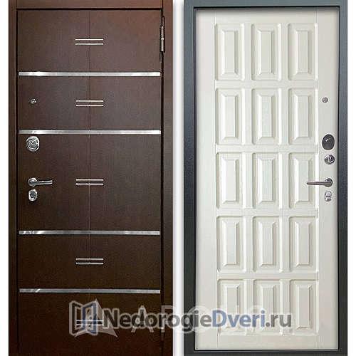Входная дверь Аргус Люкс АС 2П Лайн Венге/Голд Белое дерево