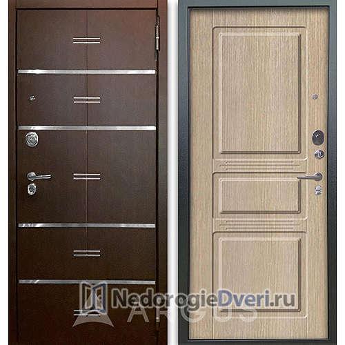 Входная дверь Аргус Люкс АС 2П Лайн Венге/Сабина Капучино