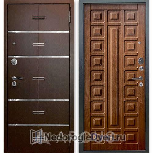 Входная дверь Аргус Люкс АС 2П Лайн Венге/Сенатор Дуб золотой