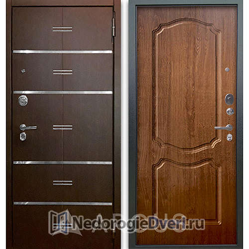 Входная дверь Аргус Люкс АС 2П Лайн Венге/Сонет Дуб золотой