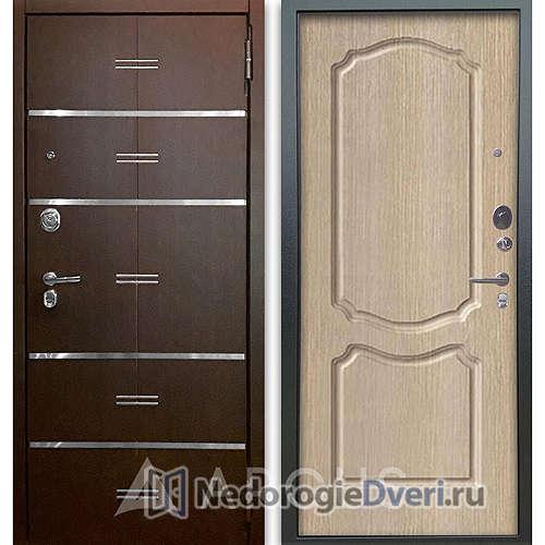 Входная дверь Аргус Люкс АС 2П Лайн Венге/Сонет Капучино