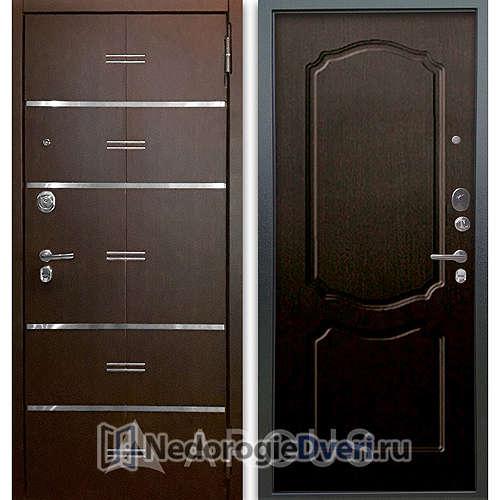 Входная дверь Аргус Люкс АС 2П Лайн Венге/Сонет Венге тисненый