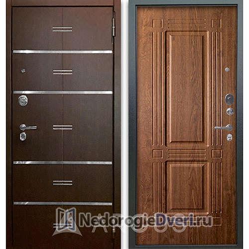 Входная дверь Аргус Люкс АС 2П Лайн Венге/Триумф Дуб золотой