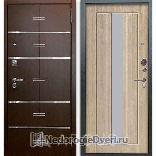 Входная дверь Аргус Люкс АС 2П Лайн Венге/Владимир Капучино