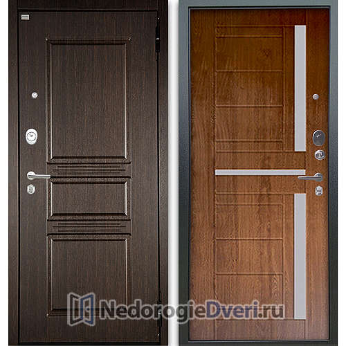 Входная дверь Аргус Люкс АС 2П Сабина Венге/Альфред Дуб золотой