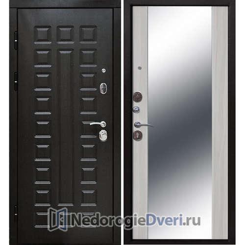 Входная дверь Бастион 120 S с Зеркалом (В квартиру с шумоизоляцией) Белый ясень