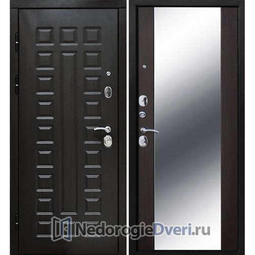 Входная дверь Бастион 120 S ( В квартиру с шумоизоляцией с зеркалом ) Венге