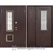 Входная уличная дверь Бастион с окном двустворчатая Венге