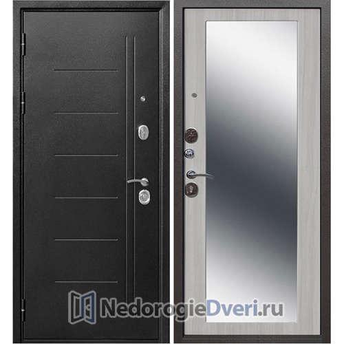 Входная дверь Бастион 100 Т  МХ Серебро с зеркалом Ясень белый