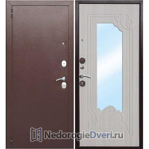 Входная дверь Бастион А с зеркалом Белый ясень