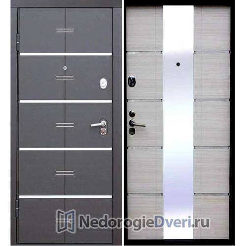 Входная дверь Бастион АТ с зеркалом Белый ясень