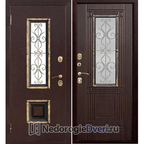 Входная дверь Бастион 80 V с окном Венге