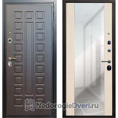 Входная дверь Лекс Гладиатор с зеркалом (Беленый дуб)
