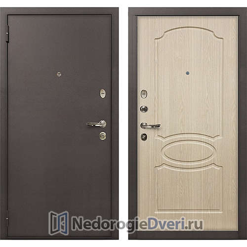 Входная дверь Лекс 1А Медный Антик (№14 Беленый дуб)