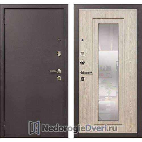 Входная дверь Лекс 1А Медный Антик (№23 Беленый дуб с зеркалом)