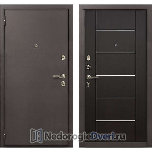 Входная дверь Лекс 1А Медный Антик (№24 Венге с молдингом)