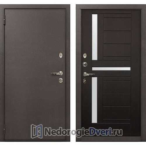 Входная дверь Лекс 1А Медный Антик (№35 Венге с матовым стеклом)