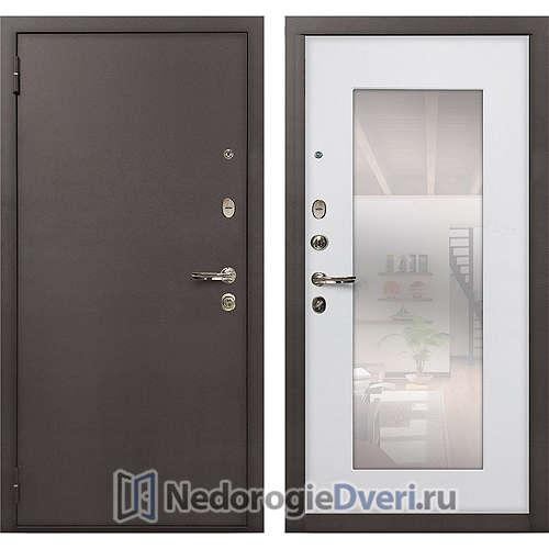 Входная дверь Лекс 1А Медный Антик (№37 Белый ясень с зеркалом)