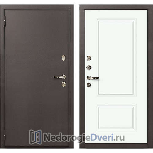 Входная дверь Лекс 1А Медный Антик (№55 Эмаль белая)