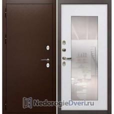 Металлические двери с терморазрывом Лекс Сибирь Термо 3К (с зеркалом) №37 Белый ясень