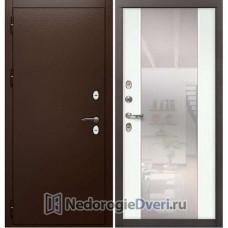 Дверь с терморазрывом Лекс Сибирь Термо 3К (с большим зеркалом) №61 Белая